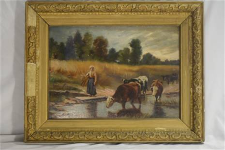 Farmer Woman Tending to Cows, Oil on Canvas Painting