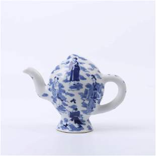 A Immortal Figures Porcelain Peach-shaped Pot