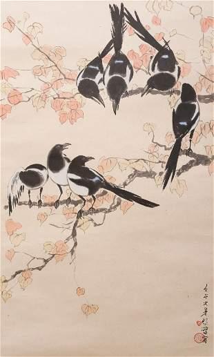 A Chinese Bird Painting Scroll, Xu Beihong Mark