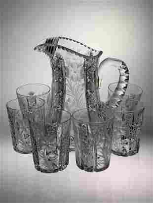 Signed Tuthill Primrose Cut Glass 7 Pc. Water Set