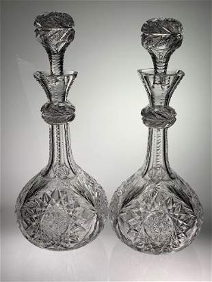 Pair Libbey Cut Glass Decanters W.C. Anderson, Rare