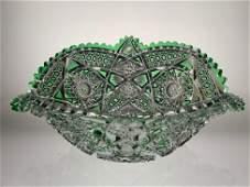 Fine Cut Glass Emerald Cut To Clear Napolean Hat Bowl