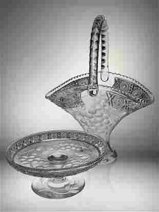 Signed Cut Glass Basket & Compote in Tuthill Vintage