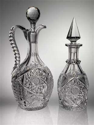 Two Signed Libbey Cut Glass Decanters