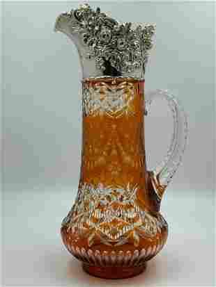 Stevens & Williams Butterscotch Cut Glass Jug, Sterling