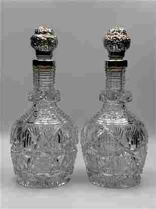 Pair Straus Matched Cut Glass Decanters With Sterling