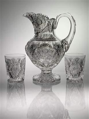 Rare Clark Desdemona Cut Glass 3 Pc. Water Set
