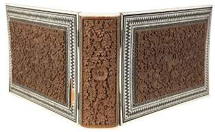 ANGLO-INDIAN - Wooden binding inlaid carved wood panel