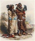 BODMER, KARL - Two Mandan Indian Warriors 1842
