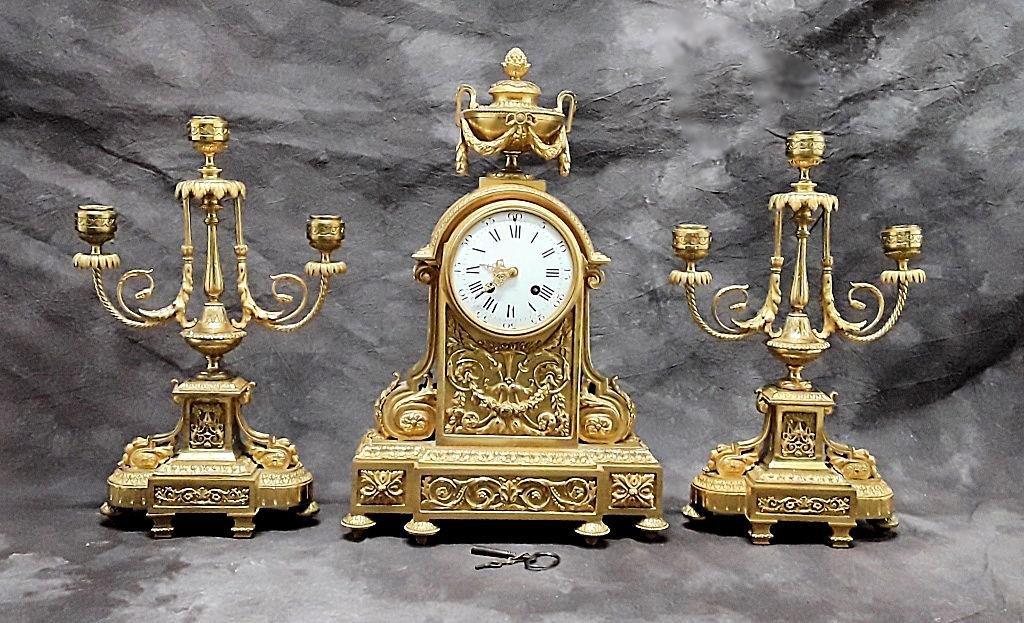 SPLENDID FRENCH ORMOLU CLOCK SET