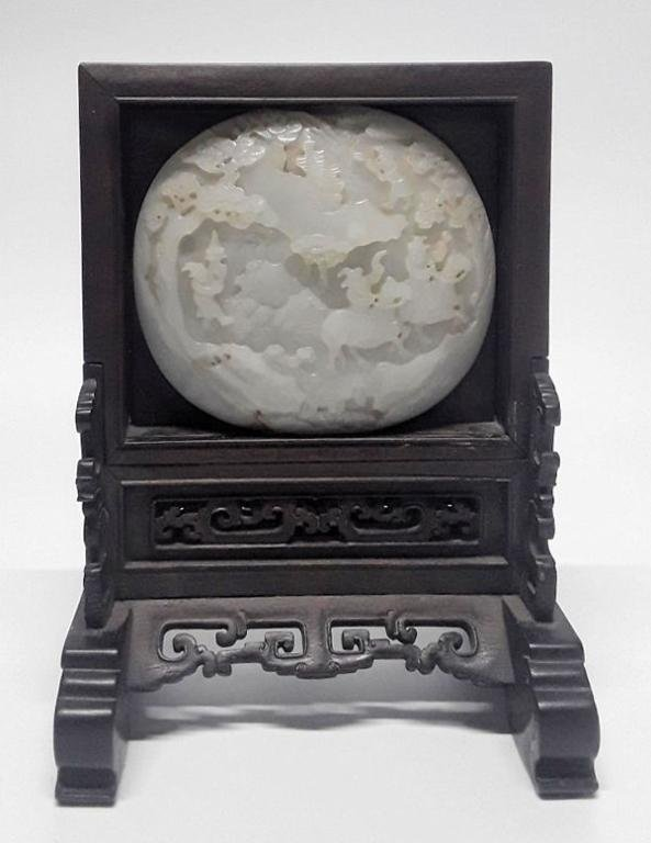 CHINESE WHITE JADE FOREIGNER PLAQUE
