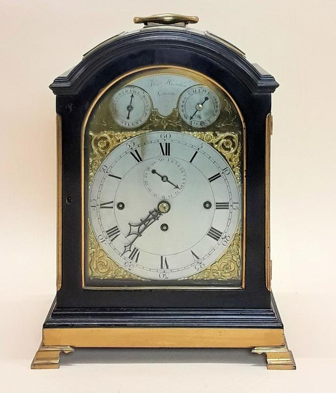 MID 18TH CENTURY EBONIZED BRACKET CLOCK