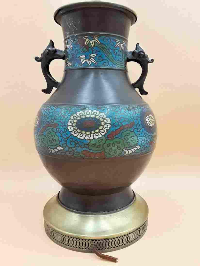 VINTAGE  ASIAN CLOISONNE VASE /LAMP