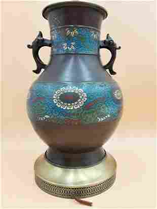 VINTAGE  ASIAN CLOISONNE VASE /LAMP