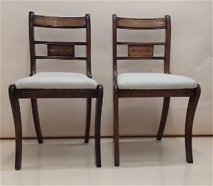 FINE PAIR OF REGENCY SABRE LEG CHAIRS