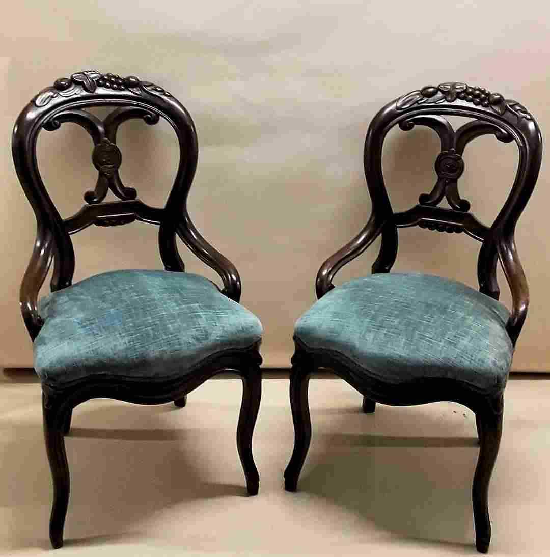 VINTAGE PAIR OF CARVED SIDE CHAIRS