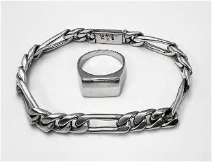 STERLING SILVER RING AND BRACELET