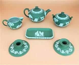 WEDGWOOD SAGE GREEN JASPERWARE TEA SET
