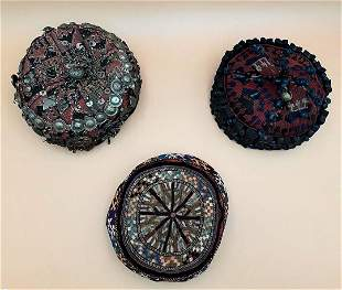 THREE ANTIQUE AFGHAN TRIBAL HATS