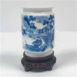 18TH C YONGZHENG BLUE & WHITE BRUSH POT ON STAND