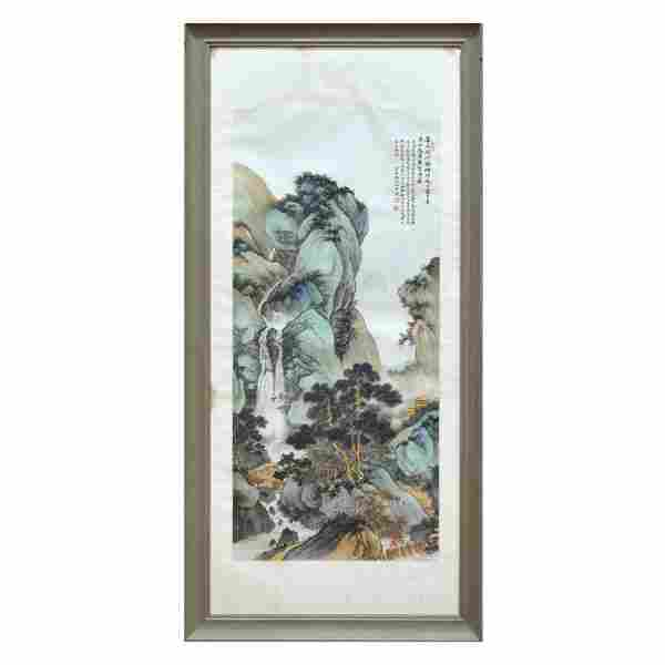 CHINESE FRAMED PAINTING, WU HUFAN SIGNED