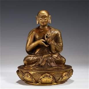 GILT BRONZE BUDDHA SEATED STATUE MING DYNASTY