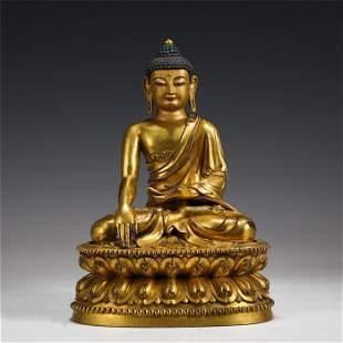 GILT BRONZE SAKYAMUNI BUDDHA STATUE MING DYNASTY