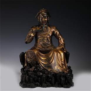 GILT BRONZE GUAN GONG SEATED STATUE MING DYNASTY