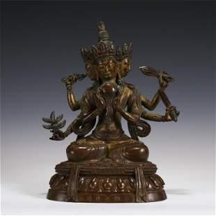 TIBETAN THREE HEADS SIX ARMS BUDDHA STATUE