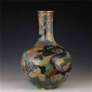 CHINESE DRAGON PATTERN CLOISONNE GLOBULAR VASE WITH A
