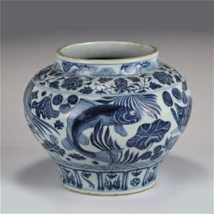 CHINESE BLUE&WHITE FISH PATTERN PORCELAIN JAR