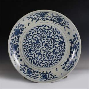 CHINESE BULE&WHITE FLOWER PATTERN PORCELAIN LARGE PLATE