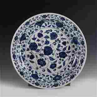 CHINESE BULE&WHITE FLOWER PATTERN PORCELAIN PLATE