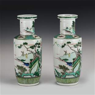 PAIR OF CHINESE WUCAI ROUND MALLET BOTTLE VASE WITH