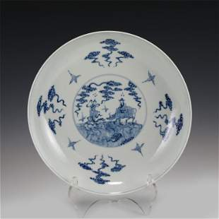 CHINESE BLUE AND WHITE FAMILLE ROSE PLATE