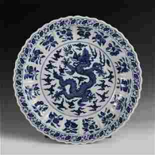 CHINESE BLUE AND WHITE DRAGON PATTERN PORCELAIN PLATE