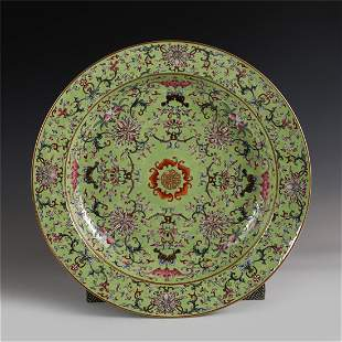 CHINESE FAMILLE ROSE FLOWER PATTERN PLATE