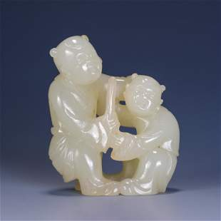 CHINESE WHITE JADE CARVED DOUBLE BOYS SHAPED TABLE ITEM