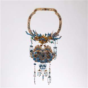 CHINESE GILT SILVER KINGFISHER FEATHER NECKLACE