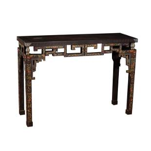 CHINESE ZITAN INLAID ENAMEL LONG NARROW TABLE