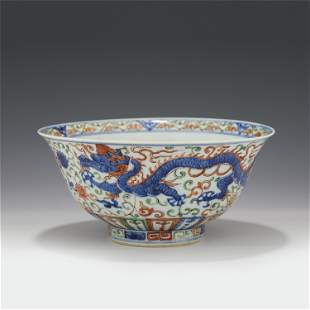 A CHINESE BLUE&WHITE WUCAI PORCELAIN DRAGON PATTERN