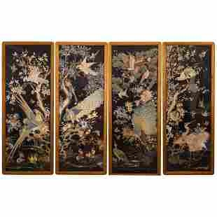FOUR CHINESE EMBROIDERY SCREENS WITH DECORATED FLOWERS