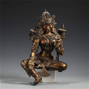 A CHINESE BRONZE GILT LACQUERED FIGURE OF BUDDHA STATUE