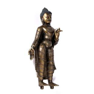 A CHINESE ALLOY COPPER FIGURE OF BUDDHA STANDING STATUE