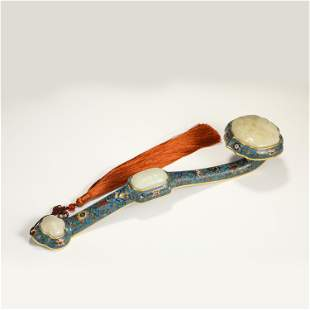 A CHINESE CLOISONNE INLAID JADE RUYI SCEPTER