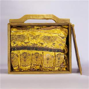 A CHINESE QING STYLE YELLOW DRAGON ROBE