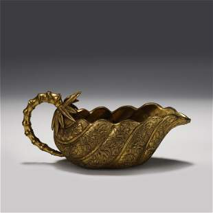 A CHINESE FLOWERS PATTERN GILT BRONZE CUP