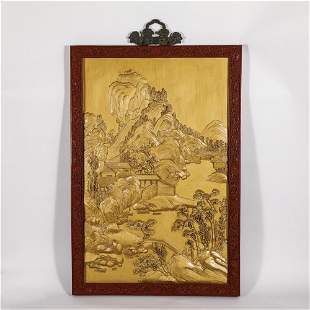 A CHINESE TIXI LACQUER FRAME GILT LACQUERED MOUNTAINS