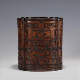 A CHINESE HUANGHUA LI WOOD BRUSH POT