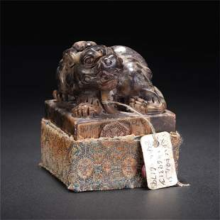 A CHINESE QING STYLE SOAP STONE SQUARE SEAL